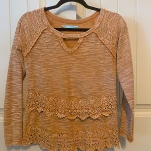 Mustard Sweater with lace detail!